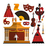 Vector set of theater object  on white background. Design elements and icons in flat style. Mask, dress, stage Royalty Free Stock Images
