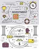 Vector set of thin line design, Investment, Finance concept banners. Vector set of Investment and Finance concept banners. Thin line flat design elements for web Royalty Free Stock Photos
