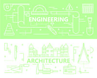 Vector set of thin line Engineering and Architecture concept banners Royalty Free Stock Images