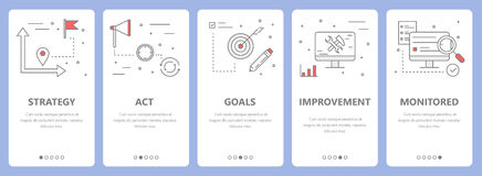 Vector set of thin line flat design action plan concept banners vector illustration