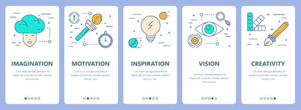 Vector set of thin line flat design innovation concept banners Stock Images
