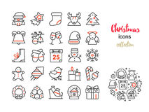 Vector set of thin line icons for Christmas and new year. Royalty Free Stock Image