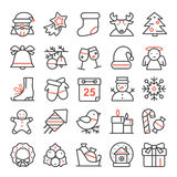 Vector set of thin line icons for Christmas and new year. Stock Photo