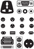 Vector set of thirteen international sockets Stock Photo