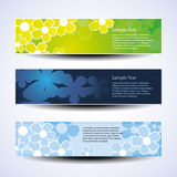 Vector Set of Three Banner Designs With Flowers Royalty Free Stock Photography