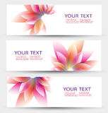 Vector set of three banners, abstract headers Royalty Free Stock Images