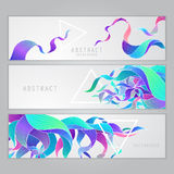 Vector set of three banners, abstract waves, ribbons with triangles Stock Photography
