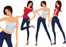 Vector set of three beautiful females. In different clothes Stock Images