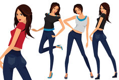 Vector set of three beautiful females. Fashionable young girls. Cartoon illustration of young women. Vector set of three beautiful females in different clothes Stock Photo