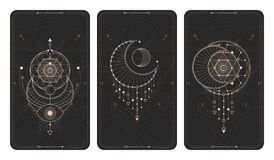 Vector set of three dark backgrounds with geometric symbols, grunge textures and frames. Abstract geometric symbols and sacred mystic signs drawn in lines royalty free illustration