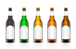 Beer bottle vector set. Vector set, Three-dimensional bottles. 3d illustration of empty beer bottles. Packing for your design. Realistic set of isolated objects Royalty Free Stock Image