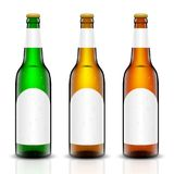 Beer bottle vector set. Vector set, Three-dimensional bottles. 3d illustration of empty beer bottles. Packing for your design. Realistic set of isolated objects Stock Images
