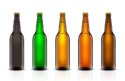 Beer bottle vector set. Vector set, Three-dimensional bottles. 3d illustration of empty beer bottles. Packing for your design. Realistic set of isolated objects Stock Photos