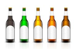 Beer bottle vector set. Vector set, Three-dimensional bottles. 3d illustration of empty beer bottles. Packing for your design. Realistic set of isolated objects Stock Image