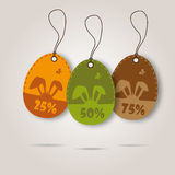 Vector set of three easter day celebration shopping tags Royalty Free Stock Photos