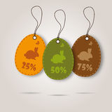 Vector set of three easter day celebration shopping tags Royalty Free Stock Photography