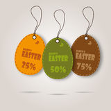 Vector set of three easter day celebration shopping tags Stock Photos