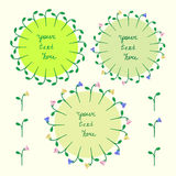 Vector set of three floral frames. Three different vector floral frames Royalty Free Stock Photos