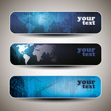 Vector set of three header designs. Set of tree blue header designs with map and cityscape background Royalty Free Stock Photography