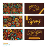Vector Set of three horizontal business cards. Summer banners. F Stock Images