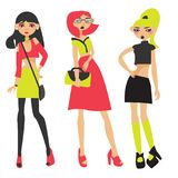 Vector set with three lovely fashion neon girls drawn in flat style. Young characters with various bags and skirts, in crop-tops,. Posing Stock Image