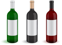 Vector set of three realistic wine bottles. Royalty Free Stock Images