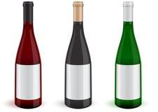 Vector set of three realistic wine bottles. royalty free illustration