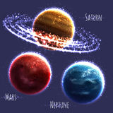 Vector set with three Solar System planets Royalty Free Stock Photo