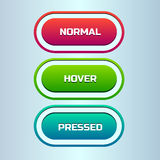 Vector set of three states of web button. Three colored status of stylish web buttons: normal, hover, pressed Royalty Free Stock Photos