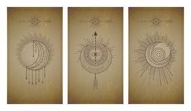 Vector set of three vintage backgrounds with geometric symbols and frames. Abstract geometric symbols and sacred mystic signs. Vector set of three vintage stock illustration