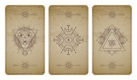 Vector set of three vintage backgrounds with geometric symbols and frames. Abstract geometric symbols and sacred mystic signs. Drawn in lines. In sepia colors vector illustration