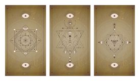 Vector set of three vintage backgrounds with geometric symbols and frames. Abstract geometric symbols and sacred mystic signs. Drawn in lines. In sepia colors stock illustration