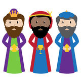 Vector Set of Three Wise Men or Magi royalty free illustration