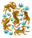 Vector set of tigers and tropical leaves. Trendy illustration. Vector set of tigers and tropical leaves Trendy illustration royalty free illustration