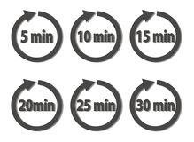 Vector set of timer icons.  Different time interval icons. Six vector icon with minutes. Vector image Stock Photo
