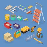 Vector set of tools, equipment  and items isometric icons. Home repair service. Vector set of tools, equipment symbols and items isometric icons. Building and Royalty Free Stock Images