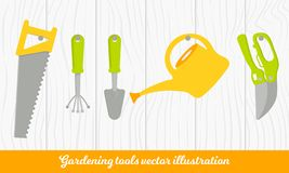 Vector set of tools for gardening. Gardening collection on wood texture. Cartoon style. stock illustration