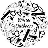 Vector Set of tools of winter sports and games equipment. Black objects on the white bacground Stock Image