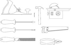 Vector set of tools for working with wood. Set of tools for working with wood: Planer, screwdrivers, hacksaw, pliers, circular saw, a hammer, a file. Sketches of Stock Photos