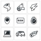 Vector Set of Tornado Icons. Vortex, Video camera, Thunderstorm, Location, Risk, Speed, Computer, Machine, Binocular. Royalty Free Stock Image