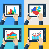 Vector set of touchscreen tablets with flat diagram and chart ic Stock Images