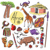Vector set of tourist attractions Africa. Tourist attractions of Africa vector set. Hand drawing Royalty Free Stock Images