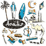 Vector set of tourist attractions Arabs. Tourist attractions of Arabs vector set. Hand drawing Royalty Free Stock Photos