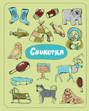 Vector set of tourist attractions Chukotka. Tourist attractions of Chukotka vector set. Hand drawing Royalty Free Stock Photo
