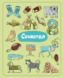 Vector set of tourist attractions Chukotka. Tourist attractions of Chukotka vector set. Hand drawing vector illustration