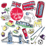 Vector set of tourist attractions England. Tourist attractions of England vector set. Hand drawing Stock Images