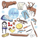 Vector set of tourist attractions Eskimos. Eskimos touristic attractions vector set. Hand drawing Royalty Free Stock Photos