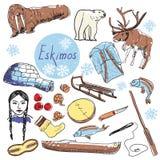 Vector set of tourist attractions Eskimos. Eskimos touristic attractions vector set. Hand drawing royalty free illustration