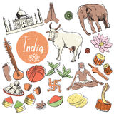 Vector set of tourist attractions India. Tourist attractions of India vector set. Yoga, snake, sweet and other. Hand drawing vector illustration