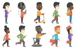 Vector set of tourists and business characters. Royalty Free Stock Photo